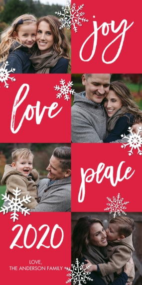 Christmas Photo Cards Flat Matte Photo Paper Cards with Envelopes, 4x8, Card & Stationery -2020 Holiday Joy Love Peace by Tumbalina