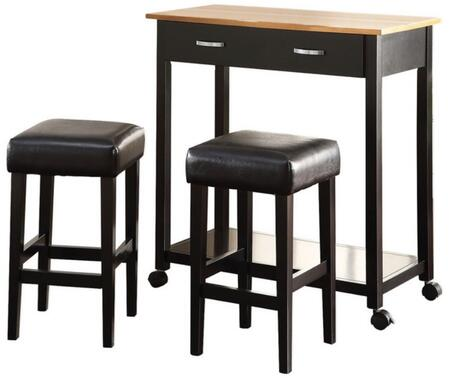 Maroth Collection 72550 3 PC Counter Height Dining Set with 1 Drawer  Metal Hardware  Casters  PU Leather Seat Cushion  Acacia Wood and Veneer