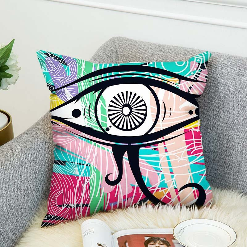 AB Sided Vintage Egyptian Elements Plush Cotton Cushion Cover Home Sofa Decor Throw Pillow Cover