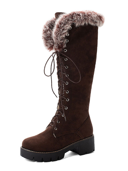 Milanoo Womens Winter Mid Calf Boots Black Lace Up Round Toe 2block Heel Boots With Faux Fur