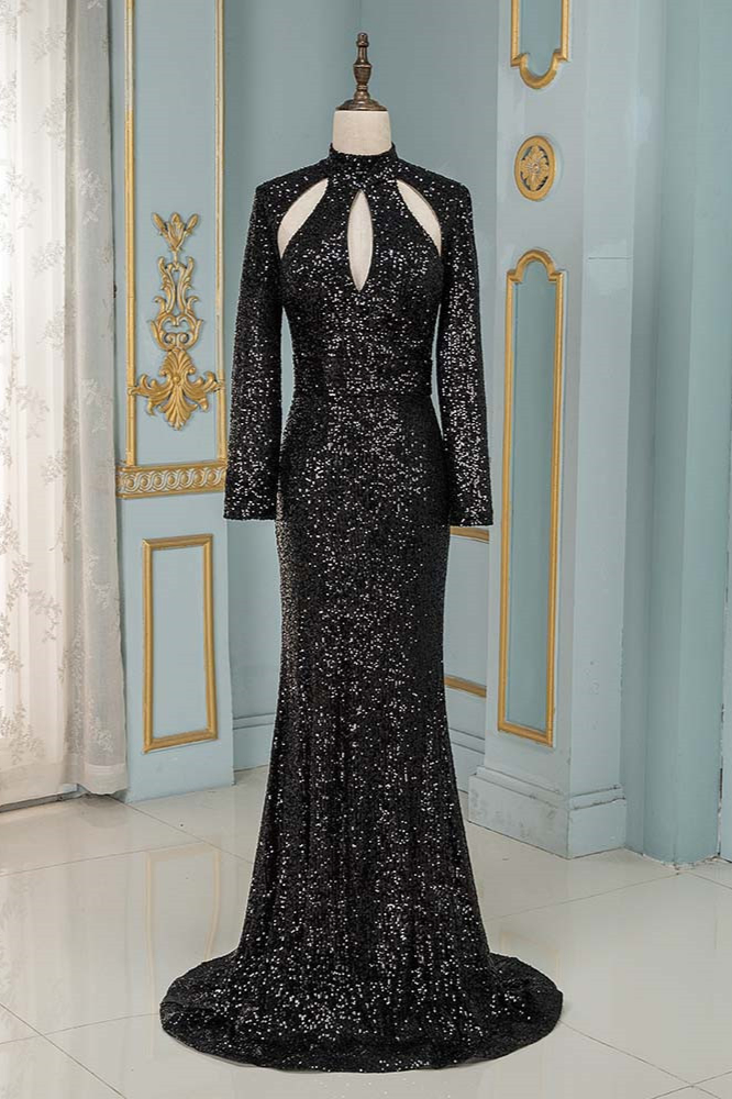 BMbridal Sparkly Sequined High-Neck Black Prom Dresses with Long Sleeves