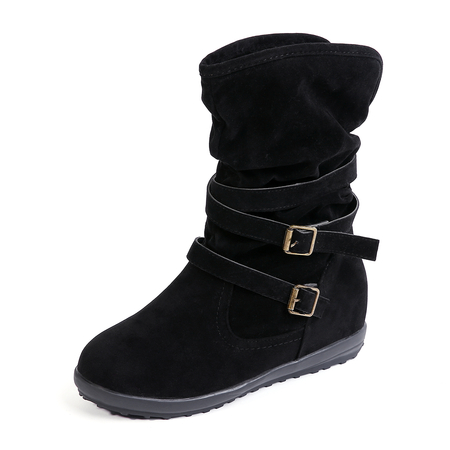 Yoins Black Mid-Calf Fur Lined Boots