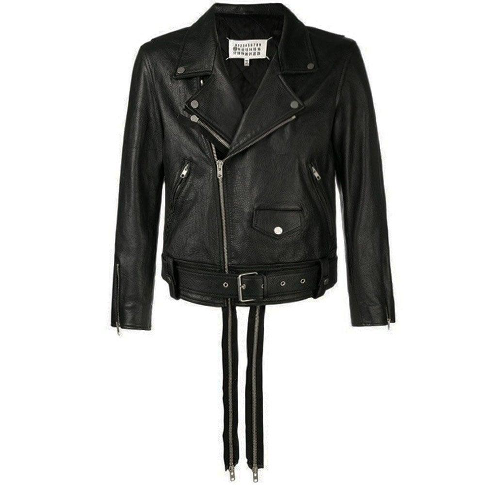 Maison Margiela Leather Double Zip Jacket Colour: BLACK, Size: LARGE