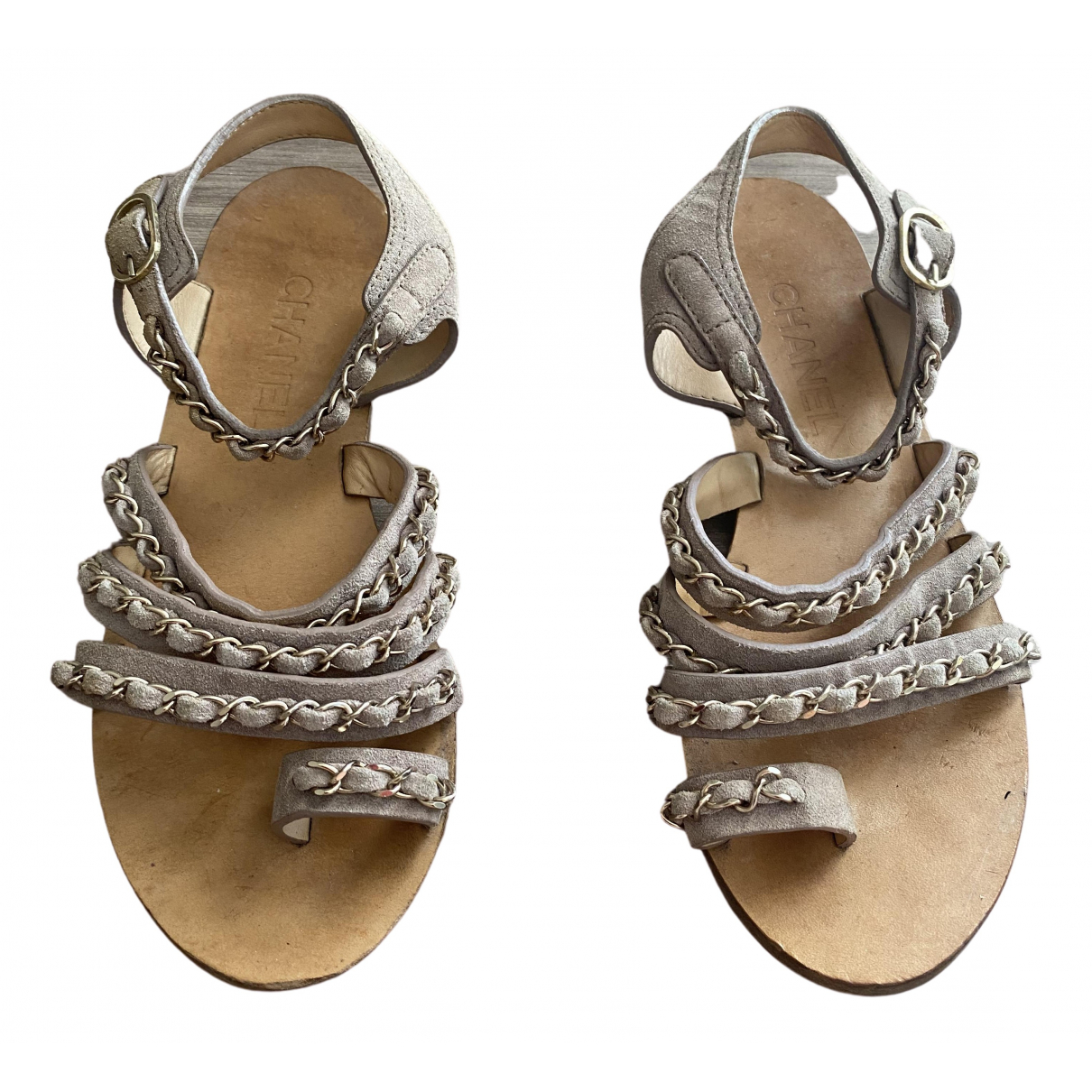 Chanel \N Beige Suede Sandals for Women 38.5 EU
