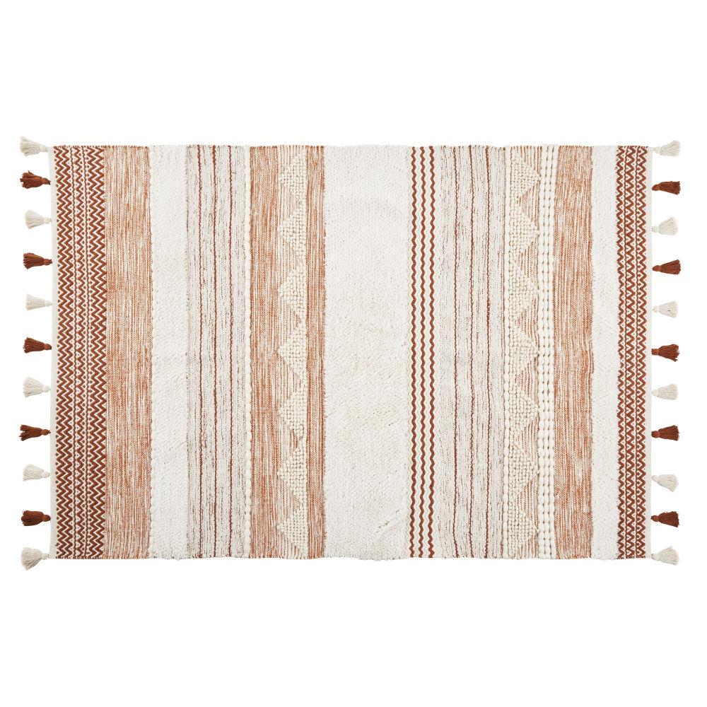 Teppich aus Baumwolle und geflochtener Wolle, mehrfarbig mit Pompons 160x230