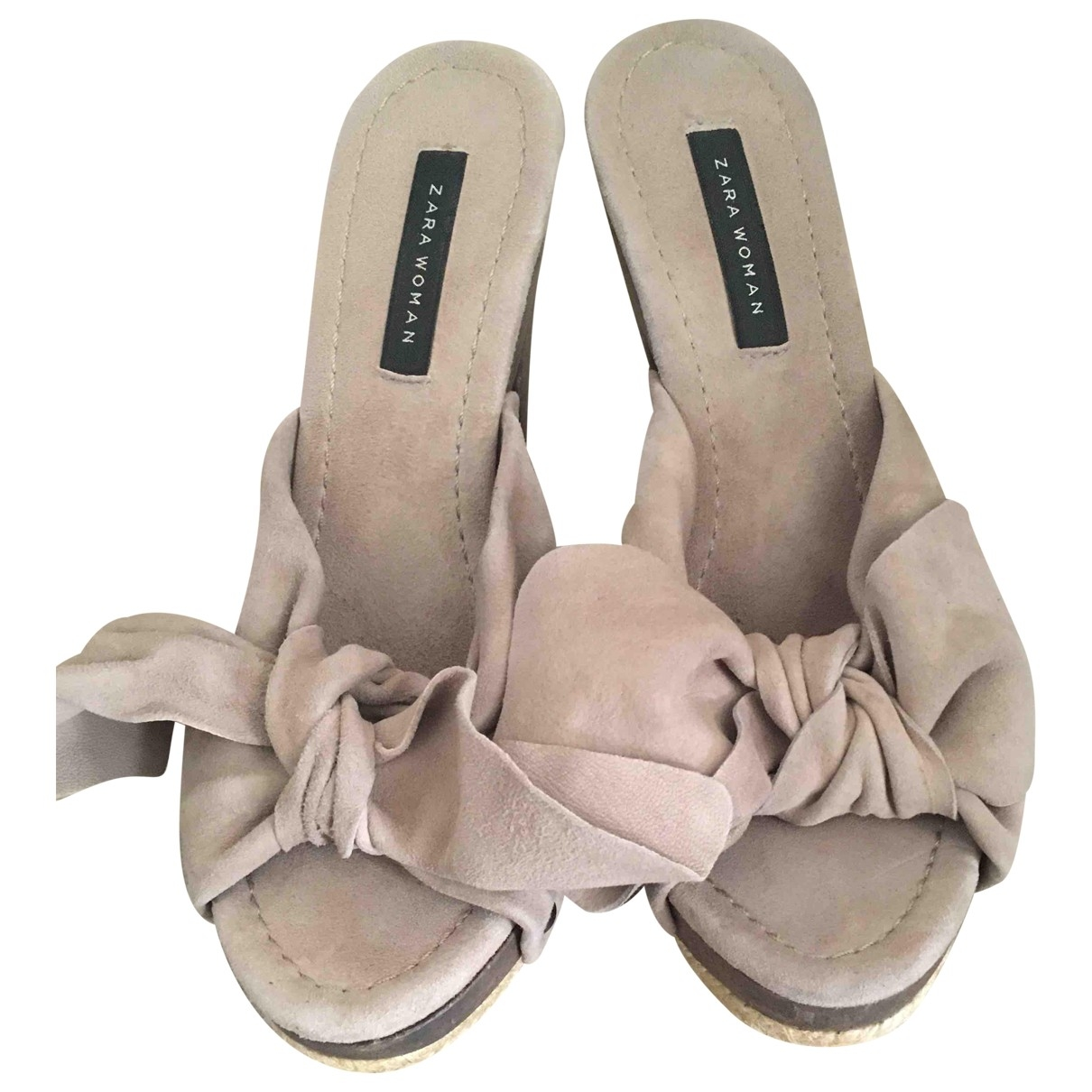 Zara \N Beige Leather Mules & Clogs for Women 36 EU