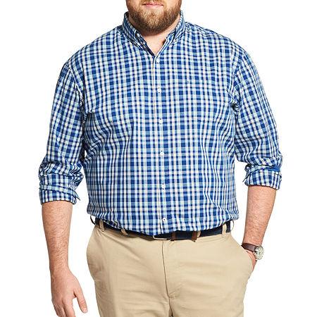 IZOD Big and Tall Premium Essentials Stretch Plaid Button-Down Shirt, 3x-large , Blue