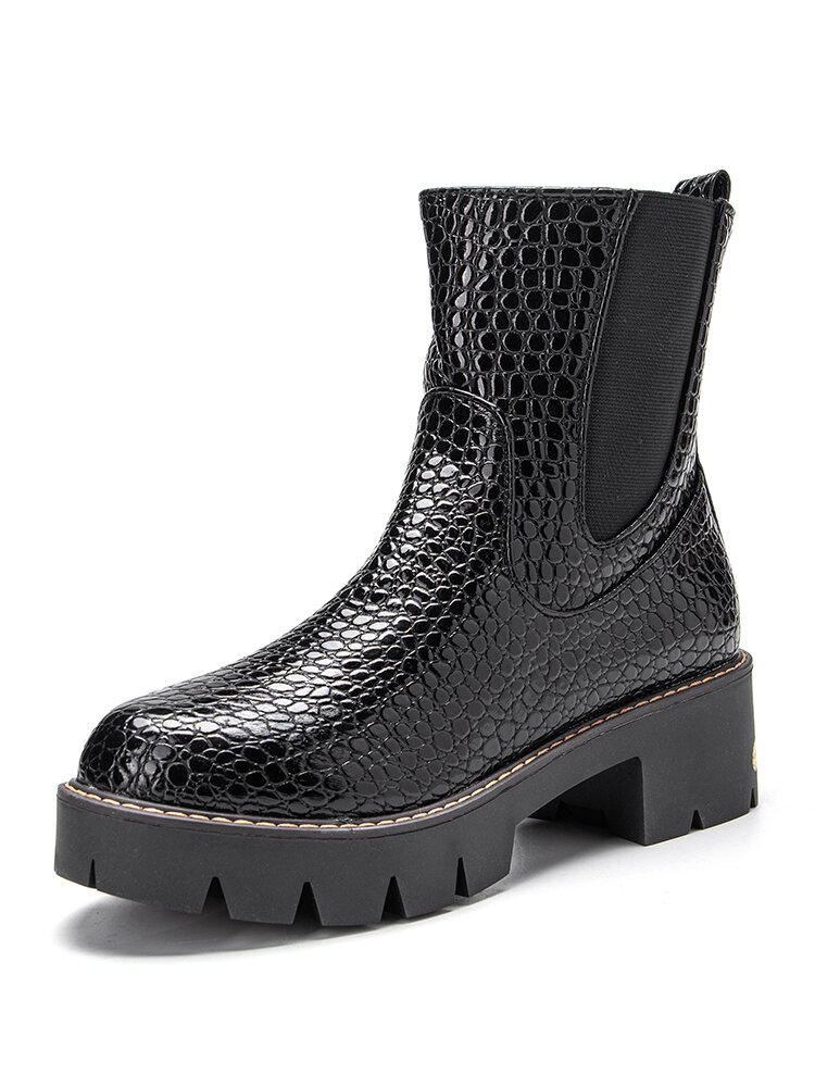 Plus Size Women Veins Elastic Band Zipper Chunky Heel Short Boots