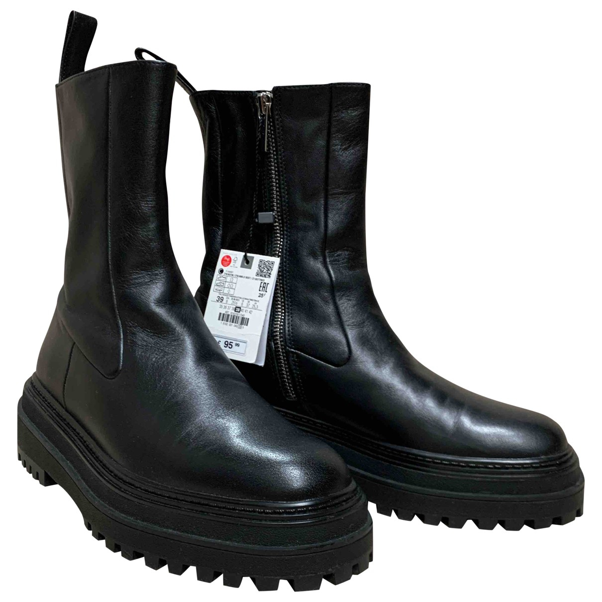Zara \N Black Leather Boots for Women 39 EU
