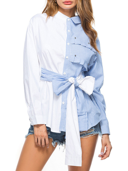Milanoo Women Casual Shirts Blue Turndown Collar Long Sleeve Striped Lace Up Casual Tops