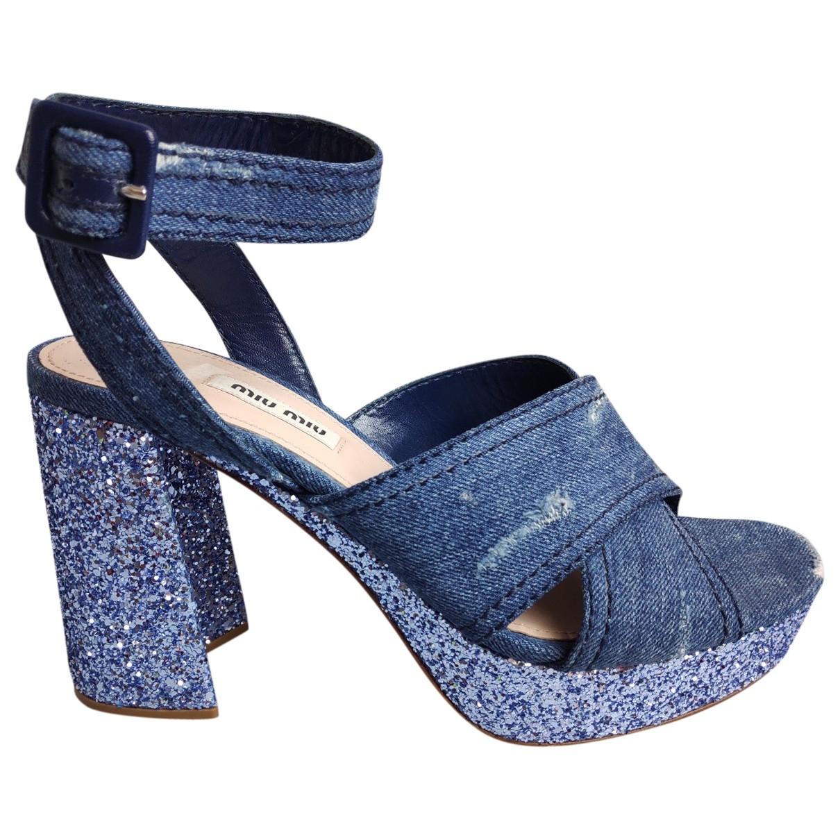 Miu Miu \N Sandalen in  Blau Leinen