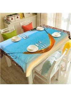 Leisurely Seaside Hammock Scenery 3D Tablecloth