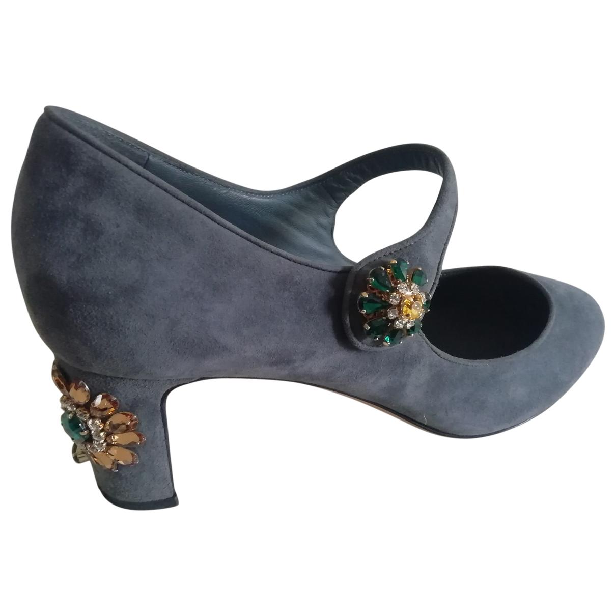 Dolce & Gabbana Taormina Grey Suede Heels for Women 41 EU