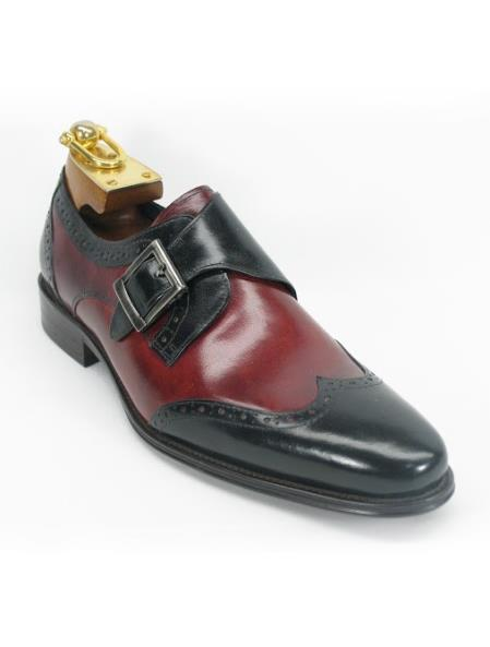 Men's Black/Burgundy Monk Strap Wing Toe Style Two Toned Fashion Shoes