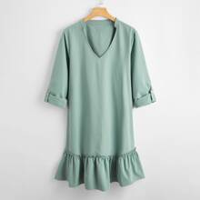Plus Notched Neck Roll Up Sleeve Ruffle Hem Dress