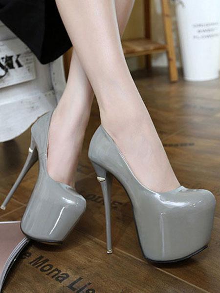Milanoo Sexy High Heels Black Platform Almond Sky High Pumps Women Shoes