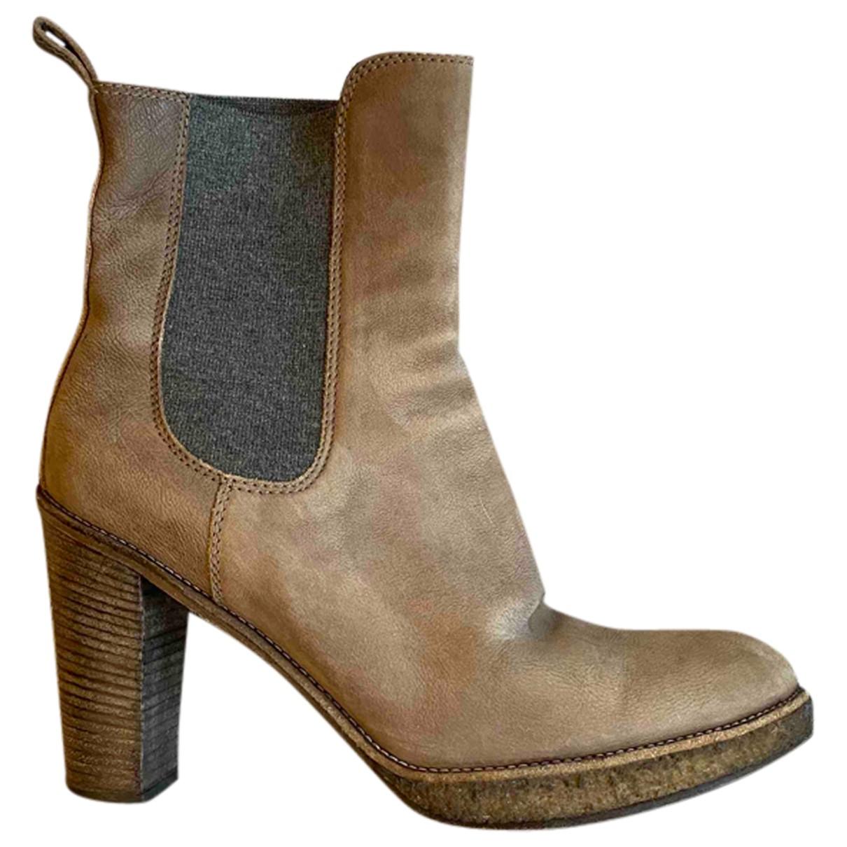 Brunello Cucinelli - Bottes   pour femme en cuir - gris