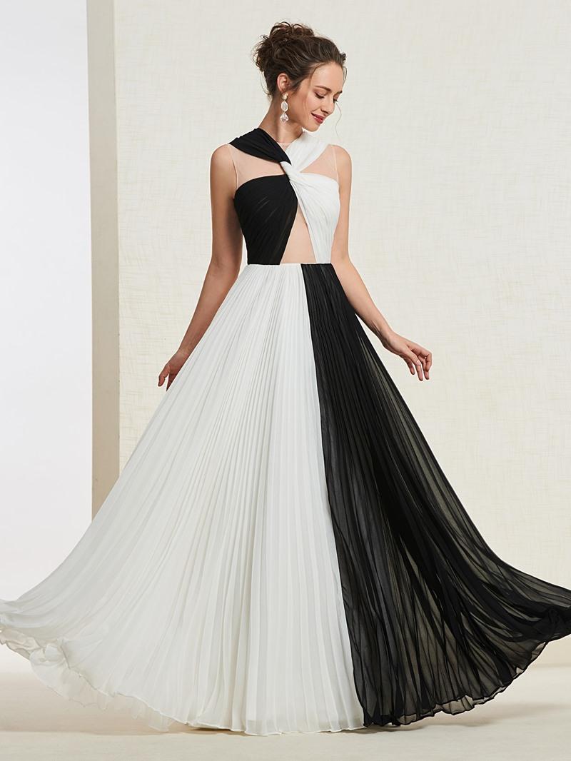 Ericdress A-Line Pleats Contrast Color Prom Dress