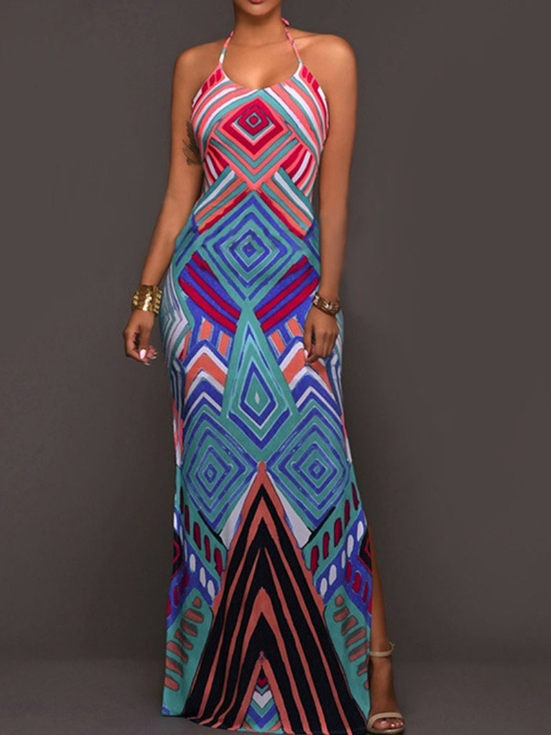 Ericdress Geometric Bodycon Sleeveless Floor-Length Print Mid Waist Dress