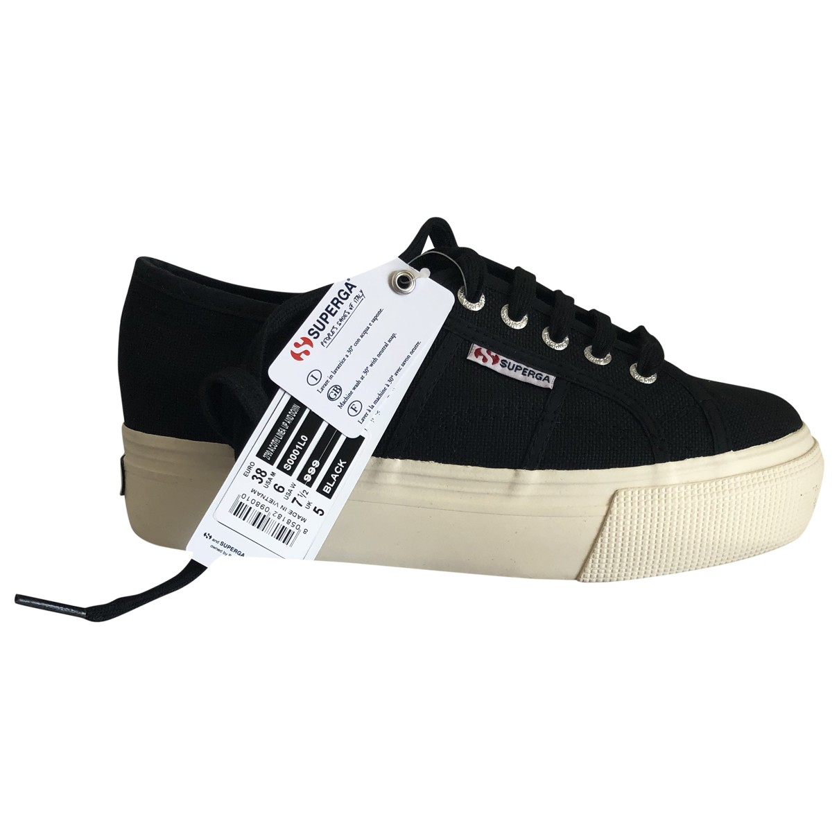 Superga \N Sneakers in  Schwarz Leinen