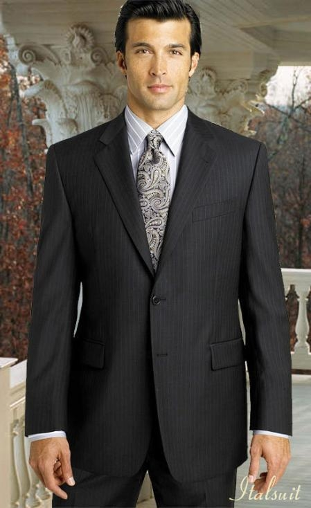 2btn Pinstripe Charcoal Grey Suit with Hand Pick Stitching on Lapel