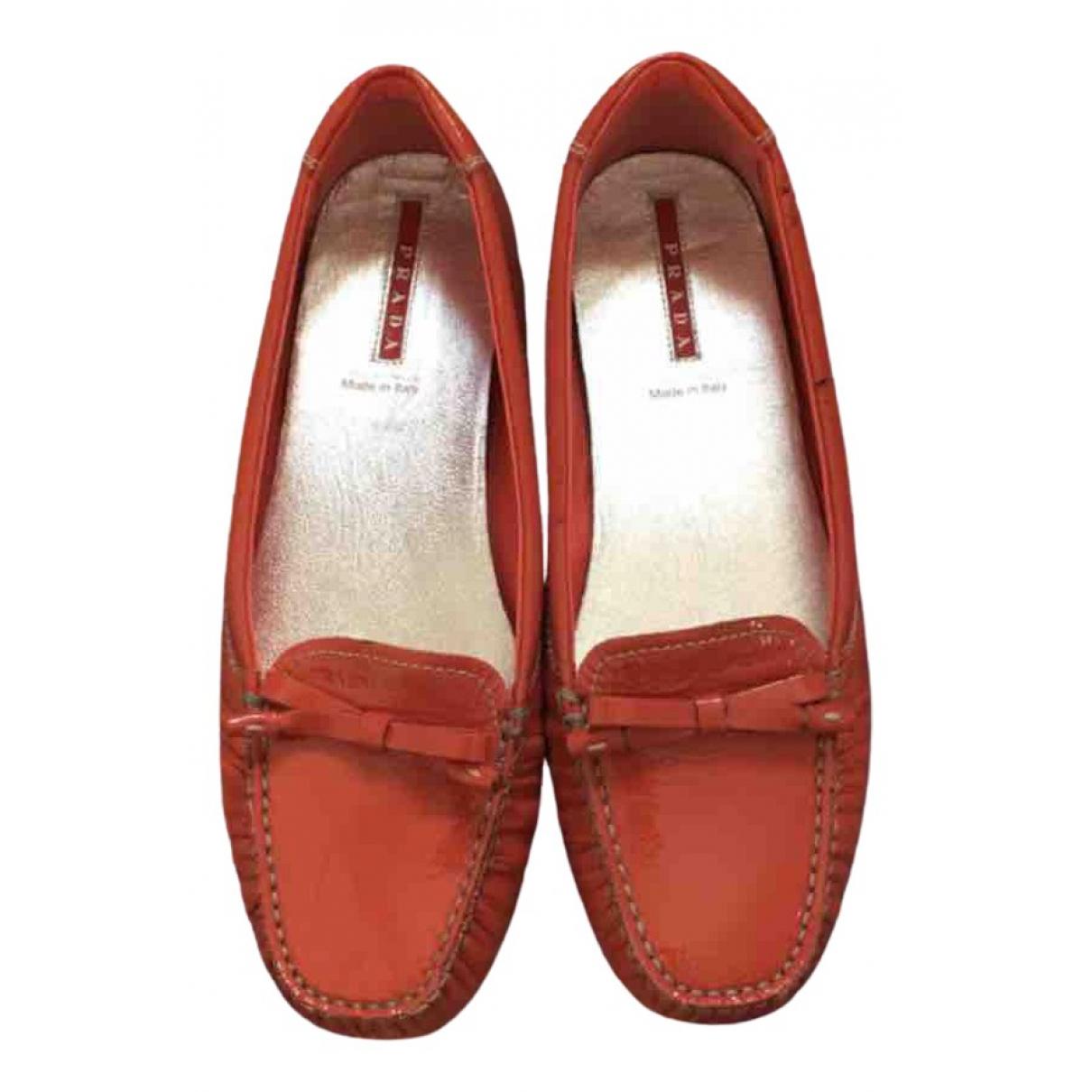 Prada \N Orange Patent leather Flats for Women 36.5 IT