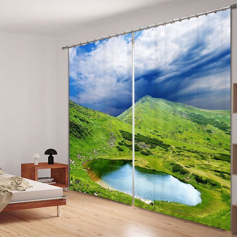 Blackout 3D Window Curtains 260g/㎡ Shading Cloth No Pilling No Fading No off-lining with Free Curtain Hooks and Free Roman Circle