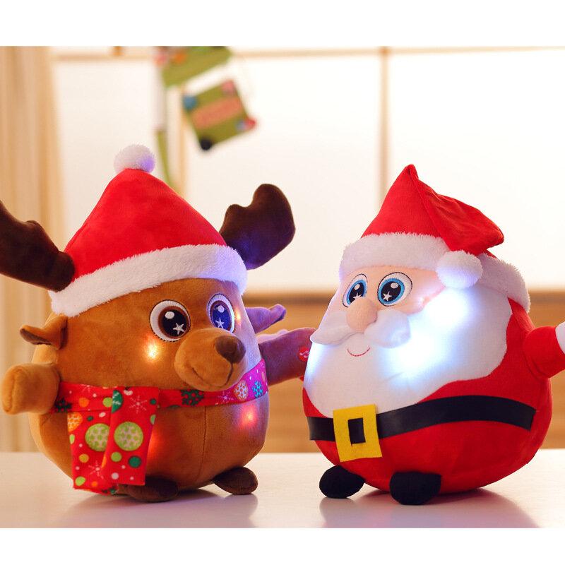 Luminous Music Santa Claus Elk Doll Christmas Gifts Plush Stuffed Cute Toys for Children