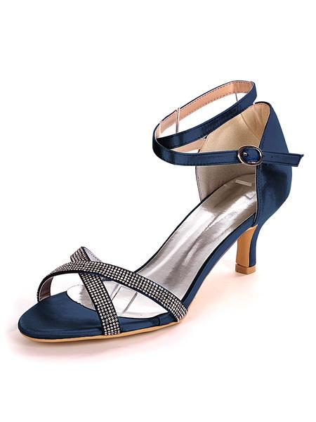 Milanoo Wedding Guest Shoes Blue Rhinestones Open Toe Kitten Heel Bridal Shoes Mother Shoes
