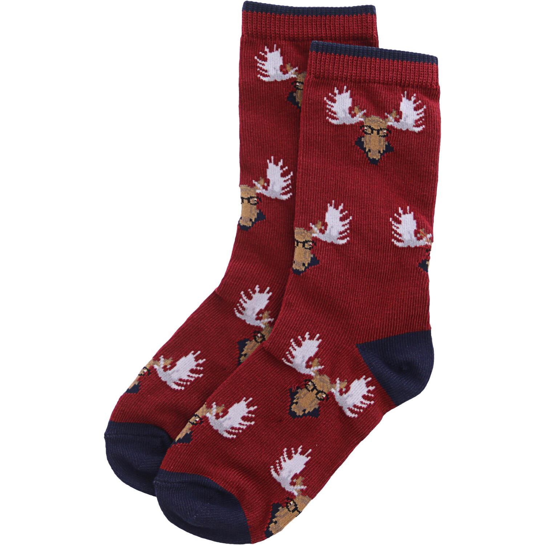 Janie And Jack Maroon Moose Sock - 4-5
