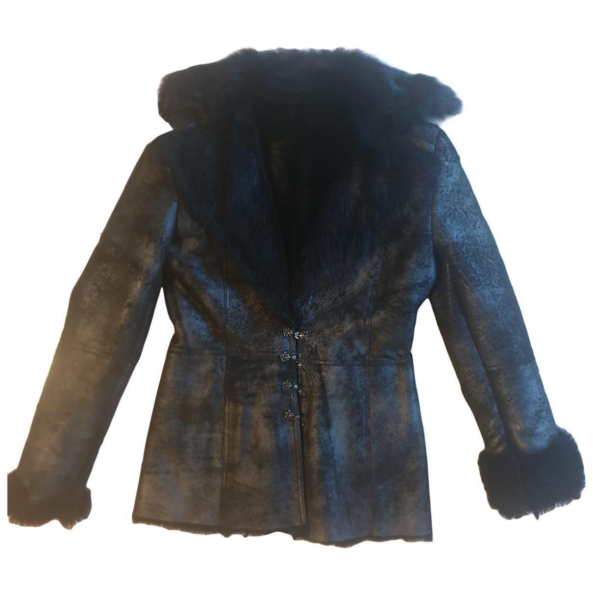 Versace - Blouson   pour femme en mouton - noir