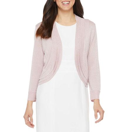 Ronni Nicole Womens 3/4 Sleeve Glitter Knit Shrug, X-large , Pink