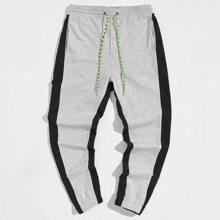 Men Drawstring Waist Contrast Sideseam Sweatpants