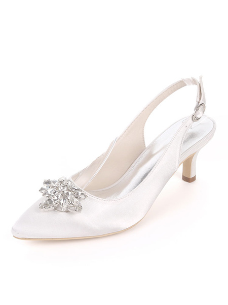 Milanoo Satin Mother Shoes Ink Blue Pointed Toe Rhinestones Slingbacks Kitten Heel Wedding Guest Shoes