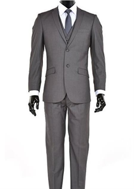 Men's Charcoal 2 Button Notch Lapel Slim Fit Suit
