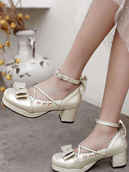 Milanoo Sweet Lolita Pump Bow Sweetheart Cut Out Strappy Pink Chunky High Heel Lolita Shoes