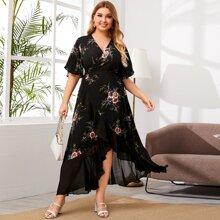 Plus Floral Print Flounce Sleeve Belted Wrap Skirt Dress