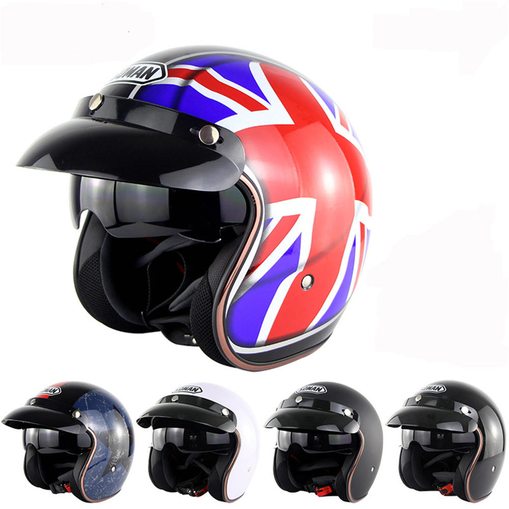 Motorcycle Scooter Summer Half Face Retro Helmet With Anti-UV Goggles