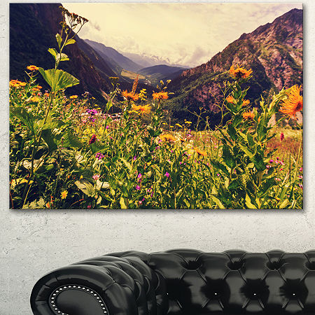 Designart Green Mountain Meadow With Flowers LargeFlower Canvas Wall Art, One Size , Green