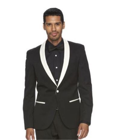 Black and White Lapel Shawl Collar Tuxedo Suit Dinner Jacket Looking