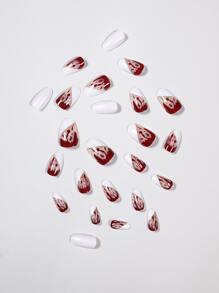 24pcs Blood Drip False Nail & 1pc Nail File & 1sheet Tape