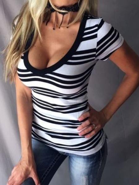 Yoins Striped V-neck Short Sleeves Tight Waist Slim Fit Tee