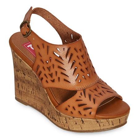 Pop Womens Madesh Wedge Sandals, 7 1/2 Medium, Brown