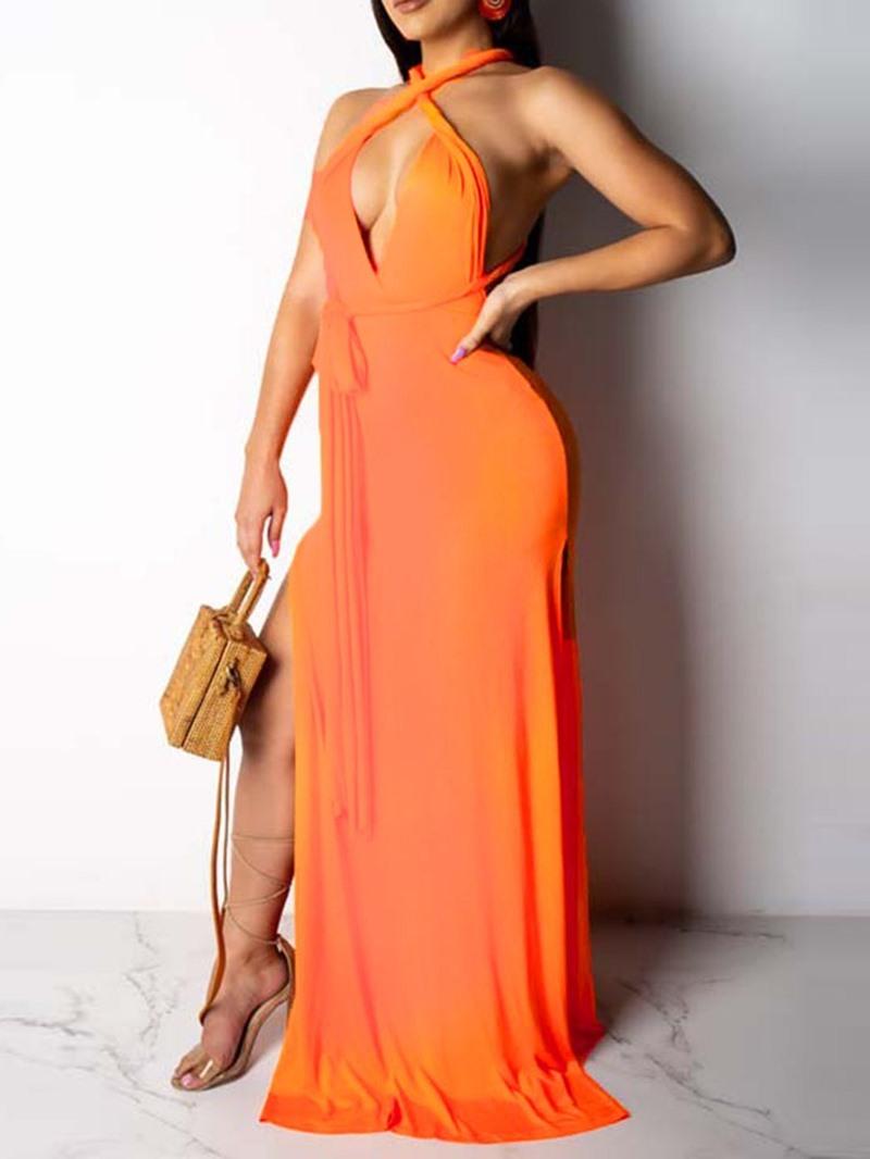 Ericdress V-Neck Sleeveless Backless Pullover Mid Waist Dress