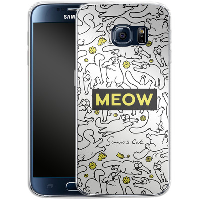 Samsung Galaxy S6 Silikon Handyhuelle - Meow von Simons Cat