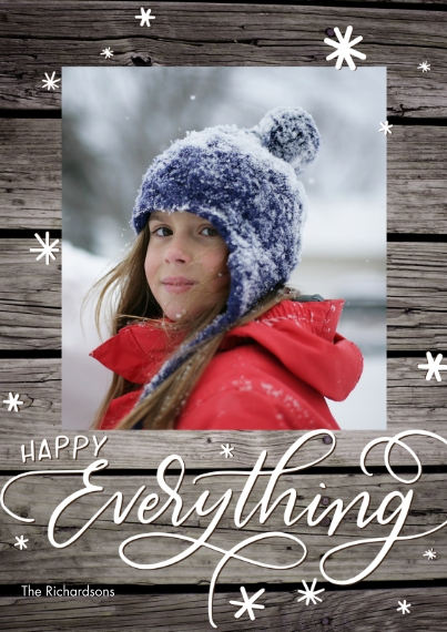 Christmas Photo Cards 5x7 Cards, Standard Cardstock 85lb, Card & Stationery -Holiday Happy Everything Stars by Tumbalina