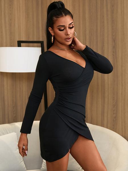 Yoins Black V-neck Long Sleeves Sexy Bodycon Party Dress