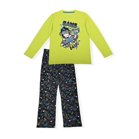 Sleep On It Big Boys 2-pc. Pant Pajama Set, 12-14 (l) , Green