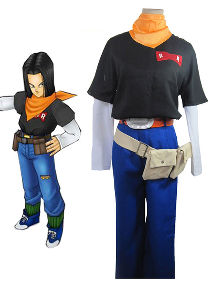 Milanoo Dragonball Cosplay Costume Z Android No.17 Uniform Cloth Outfit Anime Cosplay Costume