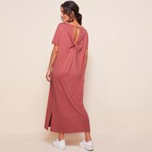 Twist Cut Out Back Tee Dress
